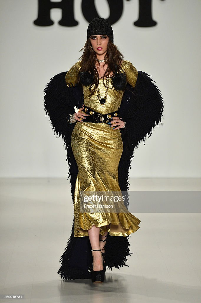 A model walks the runway at the Betsey Johnson fashion show during Mercedes-Benz Fashion Week Fall 2014 at The Salon at Lincoln Center on February 12, 2014 in New York City.