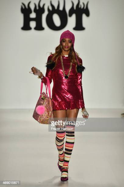 A model walks the runway at the Betsey Johnson fashion show during MercedesBenz Fashion Week Fall 2014 at The Salon at Lincoln Center on February 12...