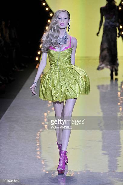 Model walks the runway at the Betsey Johnson Spring 2012 fashion show during Mercedes-Benz Fashion Week at The Theater at Lincoln Center on September...