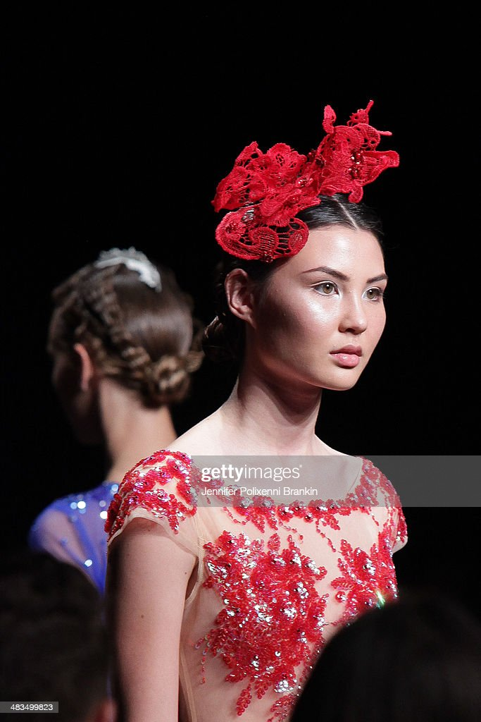 A model walks the runway at the Betty Tran show at Mercedes-Benz Fashion Week Australia 2014 at on April 9, 2014 in Sydney, Australia.