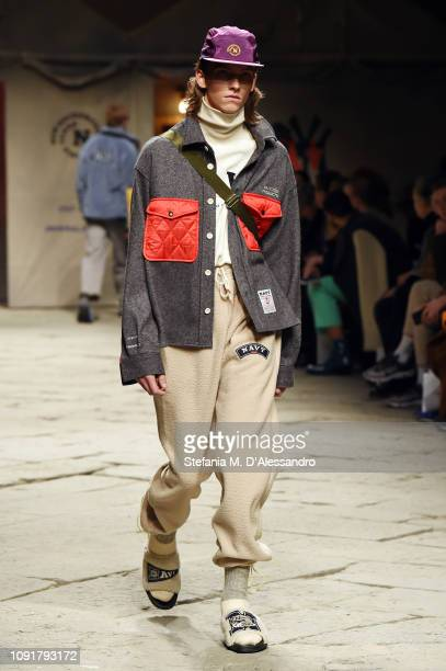 A model walks the runway at the Beyond Closet by Concept Korea show during the 95th Pitti Uomo at Fortezza Da Basso on January 09 2019 in Florence...