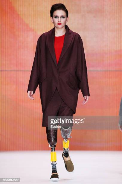 Model walks the runway at the Bezgraniz Couture fashion show during day three of Mercedes Benz Fashion Week Russia S/S 2018 at Manege on October 23,...