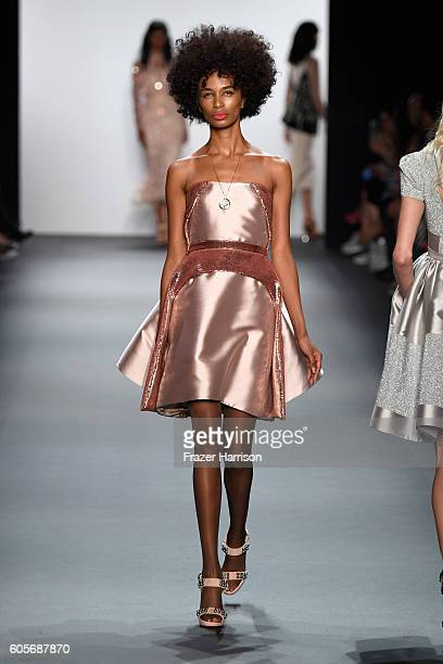 A model walks the runway at the Bibhu Mohapatra during New York Fashion Week The Shows at The Dock Skylight at Moynihan Station on September 14 2016...