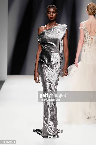 A model walks the runway at the Bibhu Mohapatra Fall 2013 fashion show during MercedesBenz Fashion Week at The Studio at Lincoln Center on February...