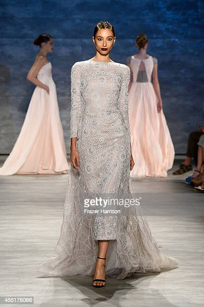 Model walks the runway at the Bibhu Mohapatra fashion show during Mercedes-Benz Fashion Week Spring 2015 at The Pavilion at Lincoln Center on...