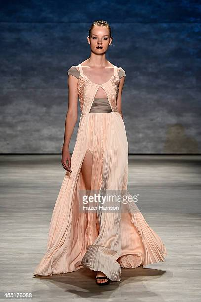 A model walks the runway at the Bibhu Mohapatra fashion show during MercedesBenz Fashion Week Spring 2015 at The Pavilion at Lincoln Center on...