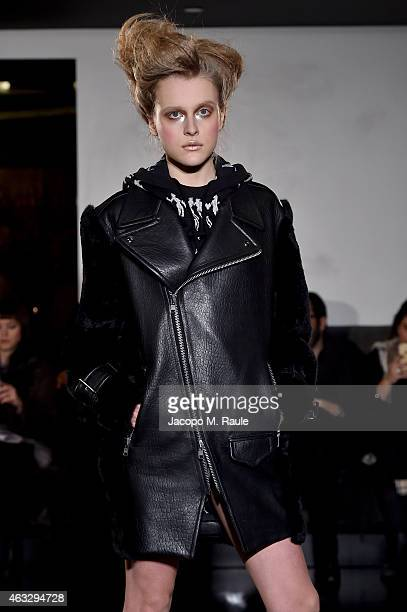 A model walks the runway at the BIG PARK FW15 'LOVE' fashion show during MercedesBenz Fashion Week Fall 2015 at Beautique on February 12 2015 in New...