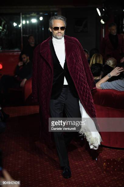 A model walks the runway at the Billionaire show during Milan Men's Fashion Week Fall/Winter 2018/19 on January 14 2018 in Milan Italy