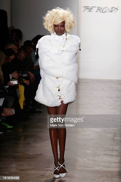 A model walks the runway at The Blonds fall 2013 fashion show during MADE Fashion Week at Milk Studios on February 12 2013 in New York City