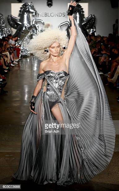 A model walks the runway at The Blonds fashion show during MADE Fashion Week September 2016 at Milk Studios on September 11 2016 in New York City