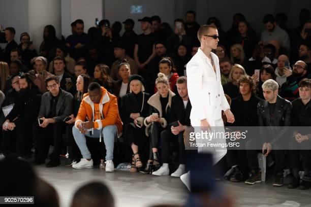 A model walks the runway at the Blood Brother show during London Fashion Week Men's January 2018 at BFC Show Space on January 8 2018 in London England
