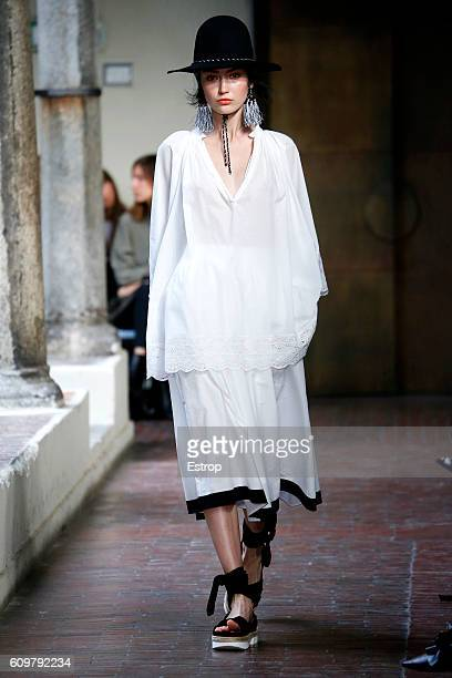 A model walks the runway at the Blugirl designed by Anna Molinari show Milan Fashion Week Spring/Summer 2017 on September 21 2016 in Milan Italy