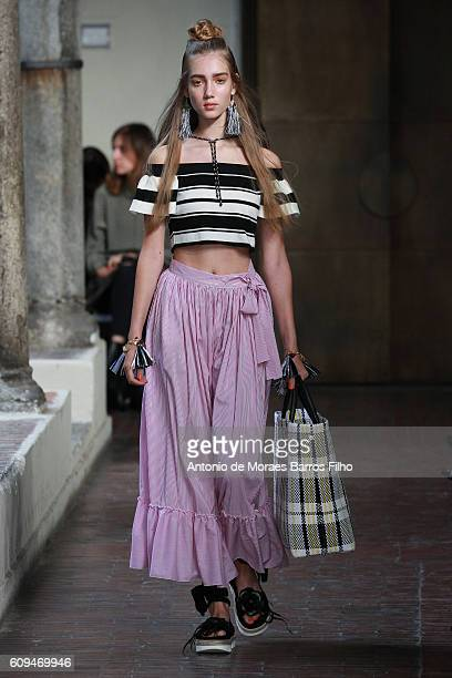 A model walks the runway at the Blugirl show during Milan Fashion Week Spring/Summer 2017 on September 21 2016 in Milan Italy
