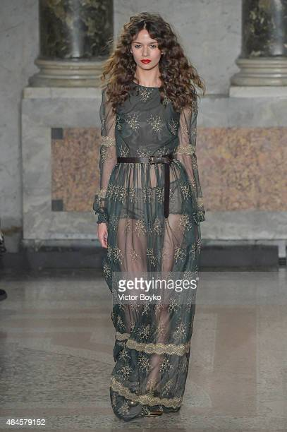 Model walks the runway at the Blugirl show during the Milan Fashion Week Autumn/Winter 2015 on February 26, 2015 in Milan, Italy.