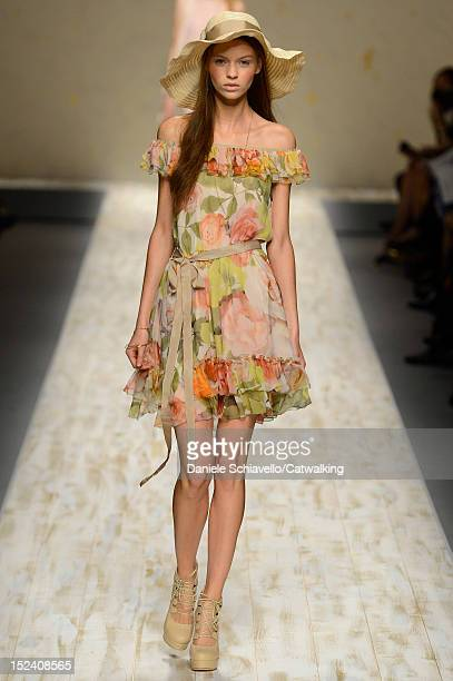 Model walks the runway at the Blugirl Spring Summer 2013 fashion show during Milan Fashion Week on September 20, 2012 in Milan, Italy.