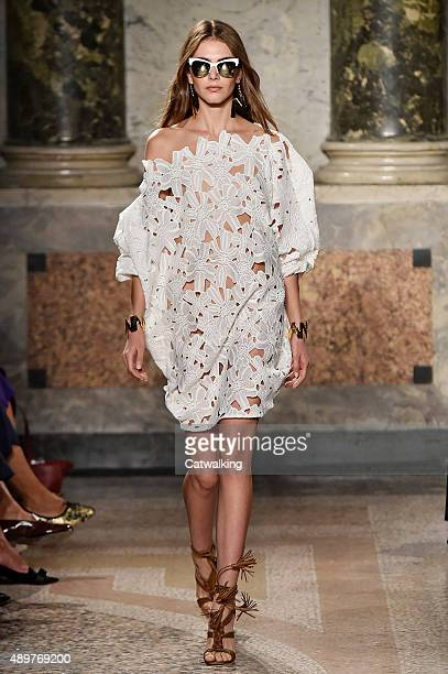 Model walks the runway at the Blugirl Spring Summer 2016 fashion show during Milan Fashion Week on September 24, 2015 in Milan, Italy.