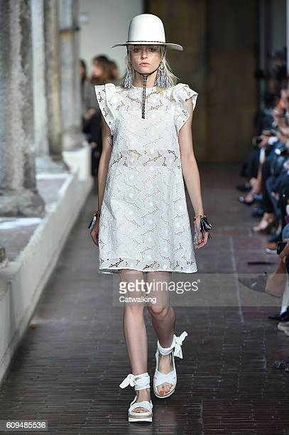 A model walks the runway at the Blugirl Spring Summer 2017 fashion show during Milan Fashion Week on September 21 2016 in Milan Italy