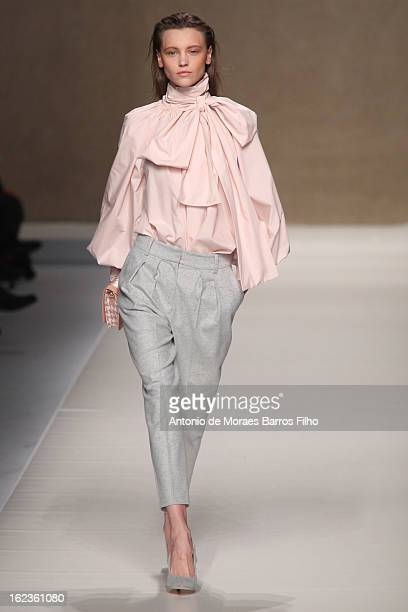 A model walks the runway at the Blumarine fashion show during Milan Fashion Week Womenswear Fall/Winter 2013/14 on February 22 2013 in Milan Italy