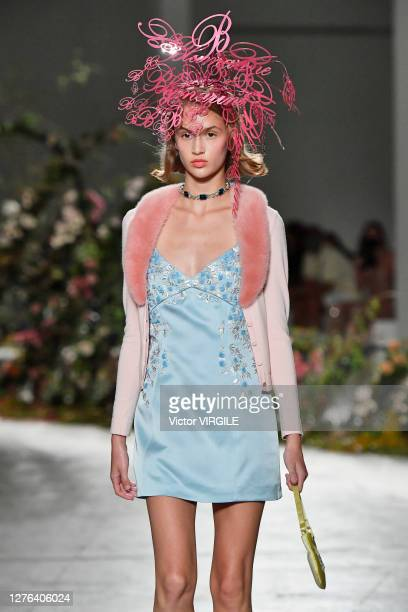 Model walks the runway at the Blumarine Ready to Wear Spring/Summer 2021 fashion show during Milan Fashion Week Spring/Summer 2021 on September 23,...