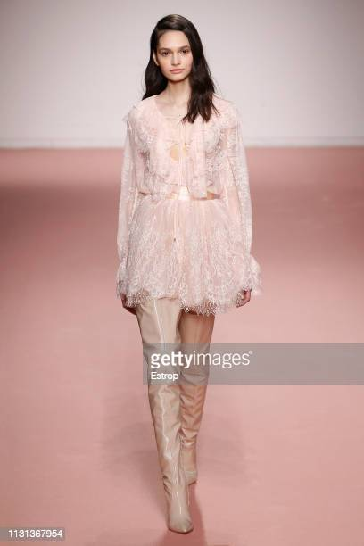 Model walks the runway at the Blumarine show at Milan Fashion Week Autumn/Winter 2019/20 on February 20, 2019 in Milan, Italy.