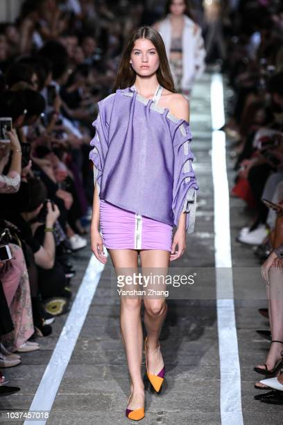 A model walks the runway at the Blumarine show during Milan Fashion Week Spring/Summer 2019 on September 21 2018 in Milan Italy