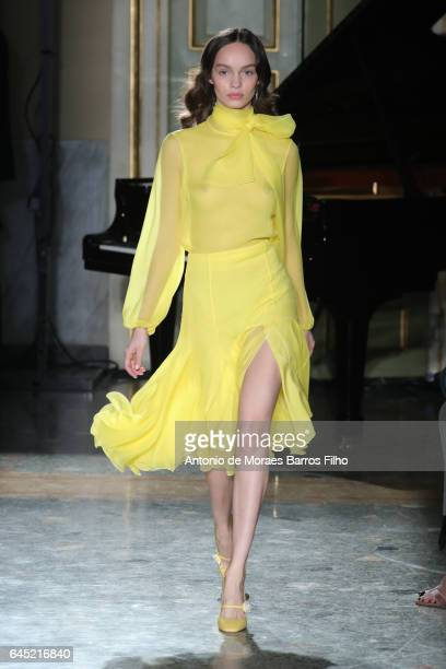 A model walks the runway at the Blumarine show during Milan Fashion Week Fall/Winter 2017/18 on February 25 2017 in Milan Italy