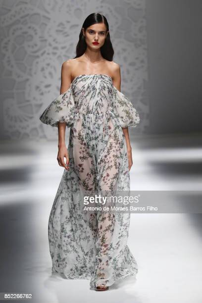 A model walks the runway at the Blumarine show during Milan Fashion Week Spring/Summer 2018 on September 23 2017 in Milan Italy