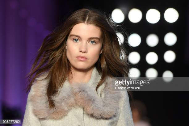 A model walks the runway at the Blumarine show during Milan Fashion Week Fall/Winter 2018/19 on February 23 2018 in Milan Italy
