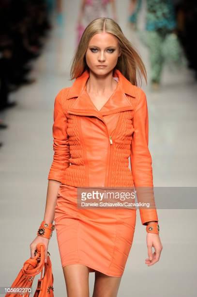 Model walks the runway at the Blumarine Spring Summer 2011 fashion show during Milan Fashion Week at on September 25, 2010 in Milan City.