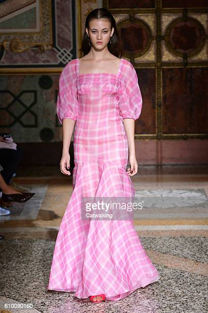 Model walks the runway at the Blumarine Spring Summer 2017 fashion show during Milan Fashion Week on September 24, 2016 in Milan, Italy.