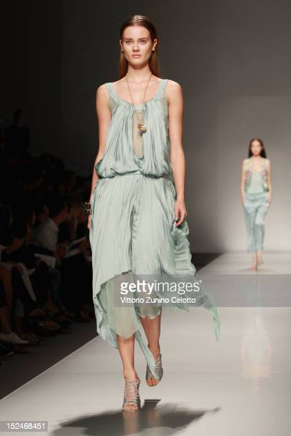 A model walks the runway at the Blumarine Spring/Summer 2013 fashion show as part of Milan Womenswear Fashion Week on September 21 2012 in Milan Italy