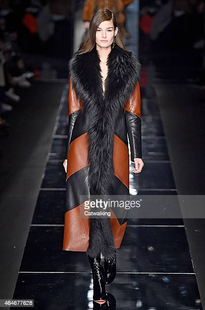 Model walks the runway at the Blumrine Autumn Winter 2015 fashion show during Milan Fashion Week on February 27, 2015 in Milan, Italy.