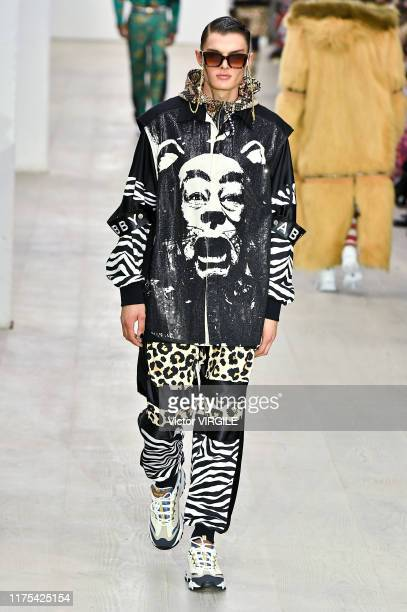 A model walks the runway at the Bobby Abley Ready to Wear Spring/Summer 2020 fashion show during London Fashion Week September 2019 on September 17...