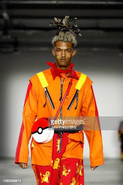 A model walks the runway at the Bobby Abley show during London Fashion Week Men's January 2019 at the BFC Show Space on January 05 2019 in London...
