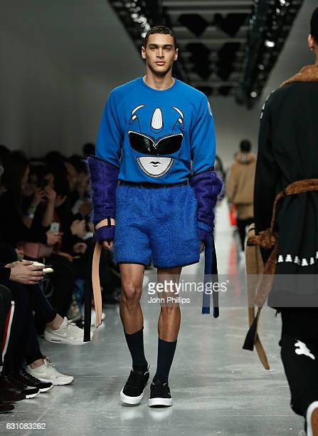 A model walks the runway at the Bobby Abley show during London Fashion Week Men's January 2017 collections at BFC Show Space on January 6 2017 in...