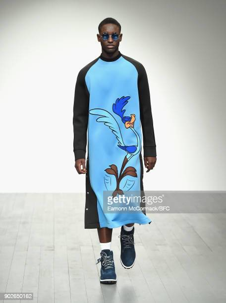A model walks the runway at the Bobby Abley show during London Fashion Week Men's January 2018 at BFC Show Space on January 8 2018 in London England