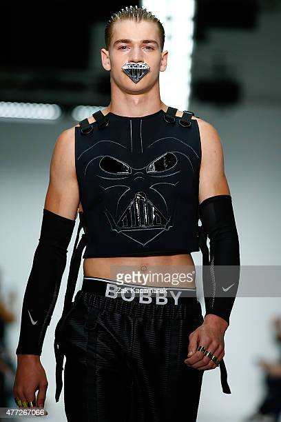 A model walks the runway at the Bobby Abley show during The London Collections Men SS16 at Victoria House on June 15 2015 in London England