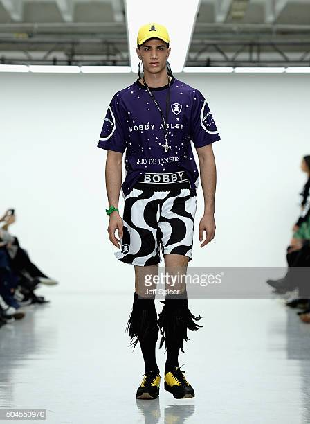 A model walks the runway at the Bobby Abley show during The London Collections Men AW16 at Victoria House on January 11 2016 in London England