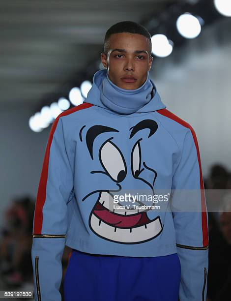 A model walks the runway at the Bobby Abley show during The London Collections Men SS17 at BFC Show Space on June 10 2016 in London England
