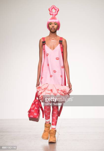 A model walks the runway at the Bobby Abley show during the London Fashion Week Men's June 2017 collections on June 12 2017 in London England