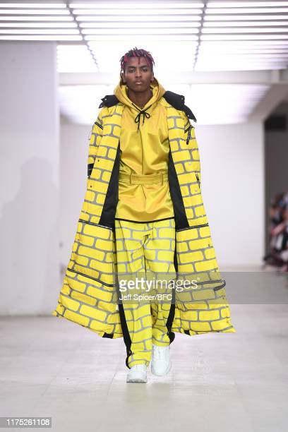 Model walks the runway at the Bobby Ableyshow during London Fashion Week September 2019 at the BFC Show Space on September 17, 2019 in London,...