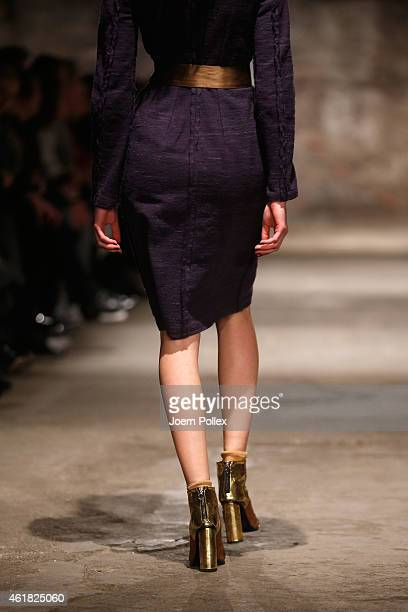 A model walks the runway at the Bobby Kolade show during the MercedesBenz Fashion Week Berlin Autumn/Winter 2015/16 at Halle am Berghain on January...