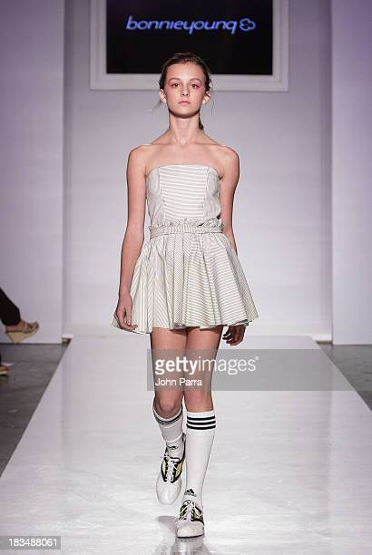 A model walks the runway at the bonneyyoung show during petiteParade NY Kids Fashion Week in Collaboration with VOGUE bambini at Industria...