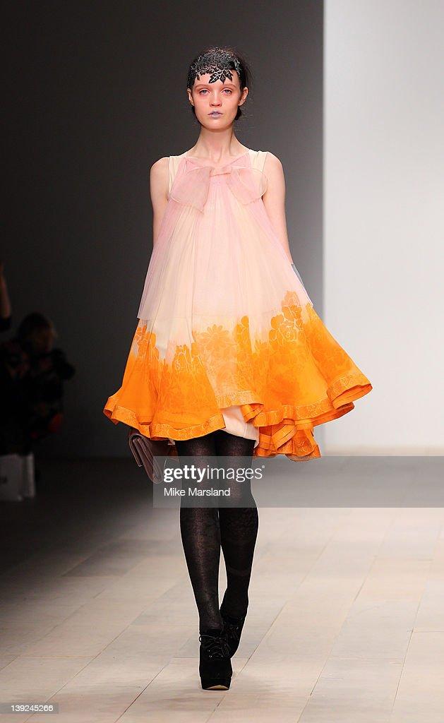 A model walks the runway at Bora Aksu S/S 2011 show at