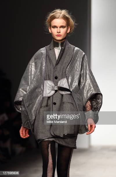 Model walks the runway at the Bora Aksu A/W 2011 show at London Fashion Week on February 18, 2011 in London, England.