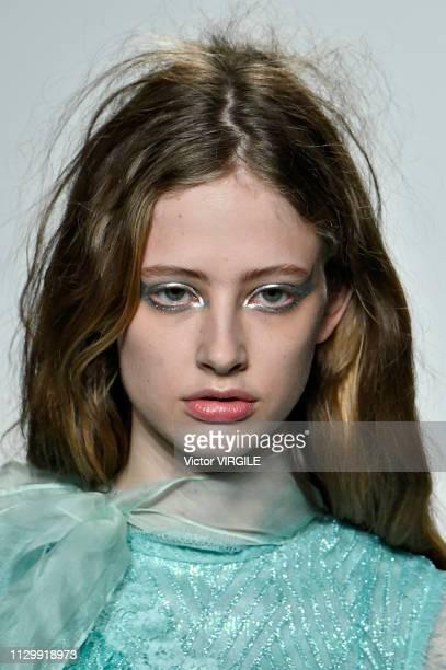 Model walks the runway at the Bora Aksu Ready to Wear Fall/Winter 2019-2020 fashion show during London Fashion Week February 2019 on February 15,...