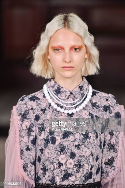 Model walks the runway at the Bora Aksu Ready to Wear Fall/Winter 2020-2021 fashion show during London Fashion Week on February 17, 2020 in London,...