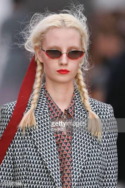 Model walks the runway at the Bora Aksu Ready to Wear Spring/Summer 2020 fashion show during London Fashion Week September 2019 on September 13, 2019...