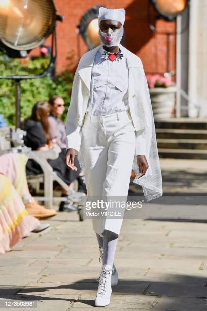 Model walks the runway at the Bora Aksu Ready to Wear Spring/Summer 2021 fashion show during London Fashion Week September 2020 at St Paul's Church...