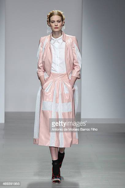 Model walks the runway at the Bora Aksu show at London Fashion Week AW14 at Somerset House on February 14, 2014 in London, England.